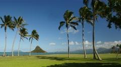 Chinamans hat, mokolii island, kualoa beach park, oahu, hawaii.. Stock Footage