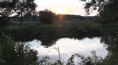 Dutch landscape sunset river Stock Footage