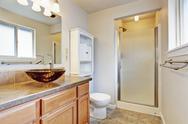 Bathroom interior in new house Stock Photos