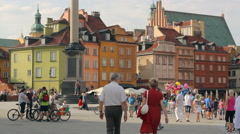 Sigismund's Column and historical buildings in Warsaw Stock Footage