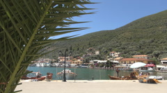 Mediterranean view with port, sea, ships, boats and yachts. Ionian Islands. Stock Footage