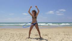 Bikini dance hoop - slow motion Stock Footage