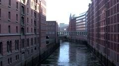Canal in Speicherstadt Hamburg 1 Stock Footage