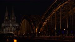 ULTRA HD 4K Koln church cathedral Hohenzollern bridge night illuminated landmark - stock footage