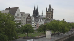 Aerial view old town Koln architecture building tower tourism attraction tourist Stock Footage
