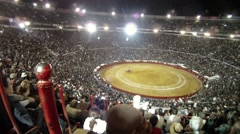 Mexico city Bullfight Crowd Night shot - stock footage