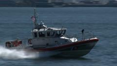 Coast Guard Boat Cruises at High Speed, 4K - stock footage