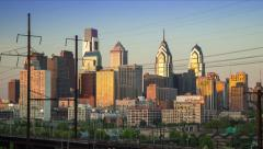 Philadelphia skyline day to night timelapse Stock Footage