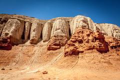 Goblin Valley cliff face of Entrada sandstone - stock photo