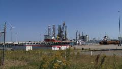 EEMSHAVEN, THE NETHERLANDS -  offshore construction vessel + zoom out Stock Footage
