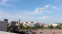 Pan across downtown Wichita, KS skyline Stock Footage