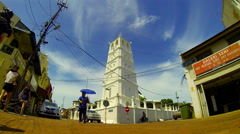 Kampung Kling Mosque with people and traffic in old town. Melaka Malaysia Stock Footage