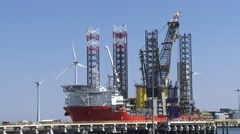 Pacific Orca, construction vessel for offshore wind farms - zoom out - wide shot Stock Footage