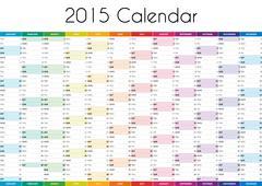 2015 Calendar - ENGLISH VERSION - stock illustration