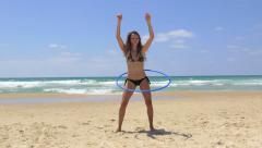 Bikini dance hoop Stock Footage