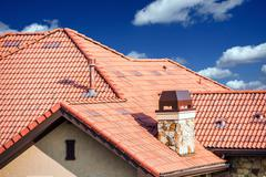 house slates roof. roofing works. - stock photo