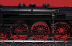 steam locomotive wheels closeup illustration - stock illustration