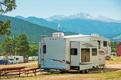 Rv fifth wheel camping. travel trailer Stock Photos