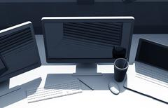triple screens graphic designer desk. 3d illustration. - stock illustration