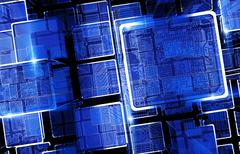 circuit technology bars. abstract cool blue 3d - stock illustration