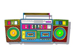 Pop art boombox Piirros