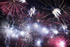Holiday fireworks. new years eve fireworks Stock Photos