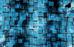digital blue background concept illustration with electronics - stock illustration