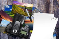 Photographer desk illustration with digital camera Stock Illustration