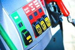 gas station pump. gasoline and diesel pump - stock photo
