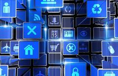 Stock Illustration of digital web abstract backdrop. blue bars 3d digital world illustration.