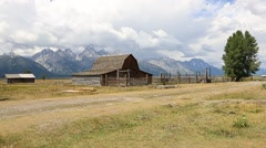 Wide Angle of the old Mormon Barn in Wyoming - stock footage