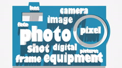 digital photo relative moving tags cloud - stock footage