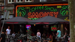 Big coffeeshop called Smokey at Rembrandt Square Amsterdam - stock footage
