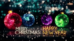 Merry Christmas Happy New Year Colorful Baubles  Loop  - 4K Resolution - stock footage