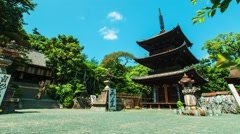 Japanese temple time lapse with pagoda Stock Footage