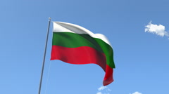 The flag of Bulgaria Waving on the Wind. Stock Footage