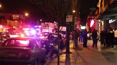 2 ambulances driving with lights and sirens Stock Footage