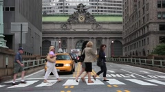 People and traffic in front of Grand Central Station NYC 1 Stock Footage
