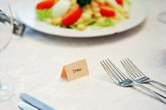 Table appointments for dinner Stock Photos