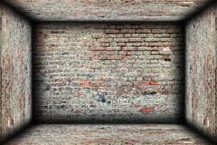 abstract interior brick finishing backdrop, empty room - stock illustration