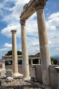 trajaneum of the acropolis - stock photo