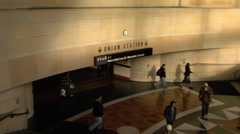 Union station inside sign Stock Footage