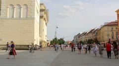 The old town of Warsaw with people, Krakowskie Przedmiescie street Stock Footage
