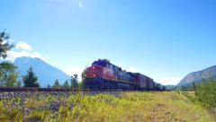 Rail Diesel Locomotive Train Pass By Stock Footage
