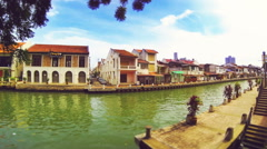 Time lapse of river and old town buildings in Melaka. Malaysia. Stock Footage