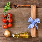 Ingridients for pasta with tomato sauce Stock Photos