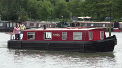 Canal boat in brayford pool, lincoln, england Stock Footage
