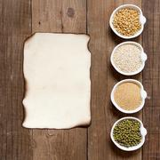 Raw organic amaranth and quinoa grains, wheat and mung beans Stock Photos
