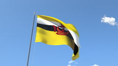 The flag of Brunei Waving on the Wind. Stock Footage