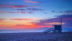 Sunset ocean in Venice Beach. Los Angeles, California. 4K Timelapse. - stock footage